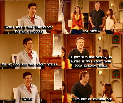 """[Intervention for Ted] Ted: """"OMG, this is about Stella."""" Marshall: """"I just said not Stella, so maybe it was about your poor listening skills."""""""