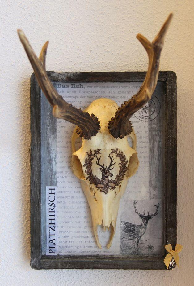 Geweihe & Trophäen - Geweih-Art-Objekt ♥ PLATZHIRSCH ♥ Vintage UNIKAT - ein Designerstück von edelkitsch bei DaWanda