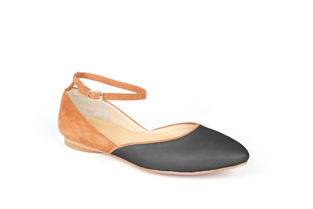 The Modern Mary-Jane by Poppy Barley Made to Measure, colour blocked in Camel Suede and Essential Black. #Customize your leather colours and hardware. #Handcrafted to your measurements. #Flats #BalletFlats poppybarley.com