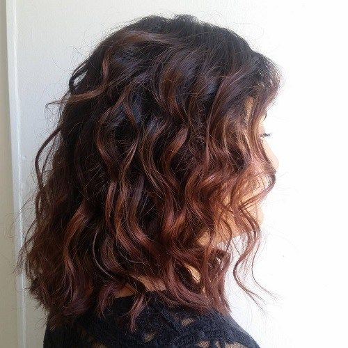 mahogany balayage for dark brown hair-- like this color but maybe copper would be better