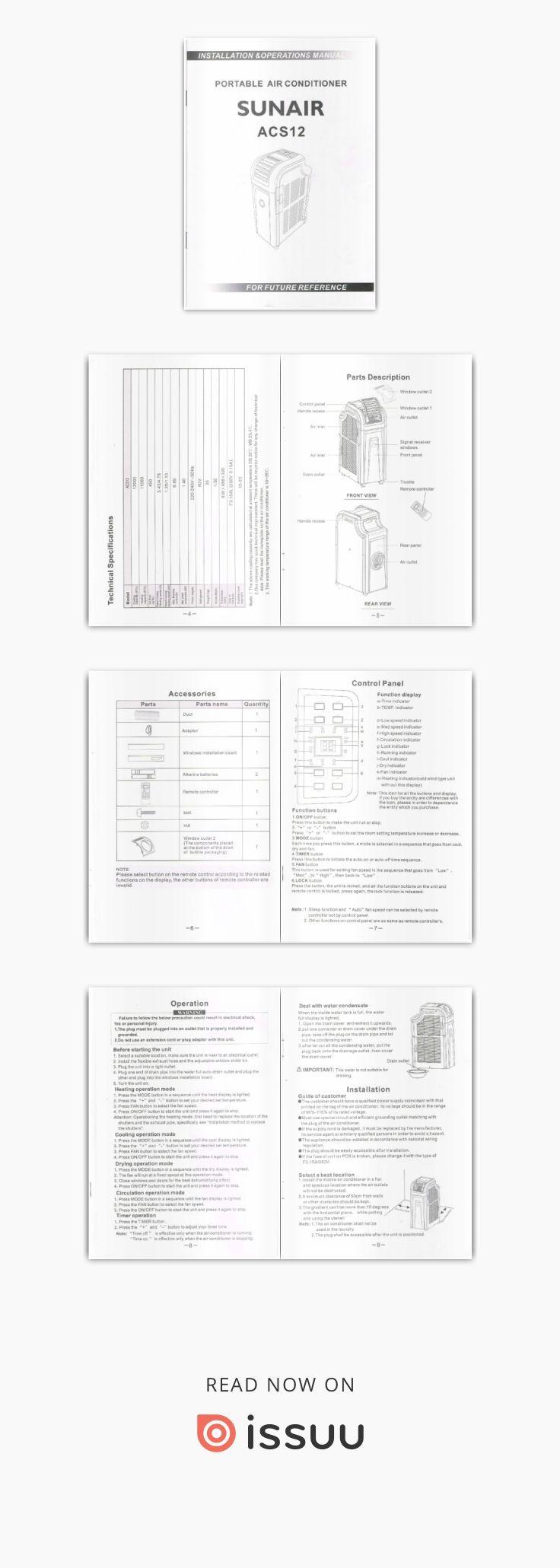 Sunair ACS12 Manual  Sunair Portable Airconditioner Reverse cycle Cooloing and Heating ACS12