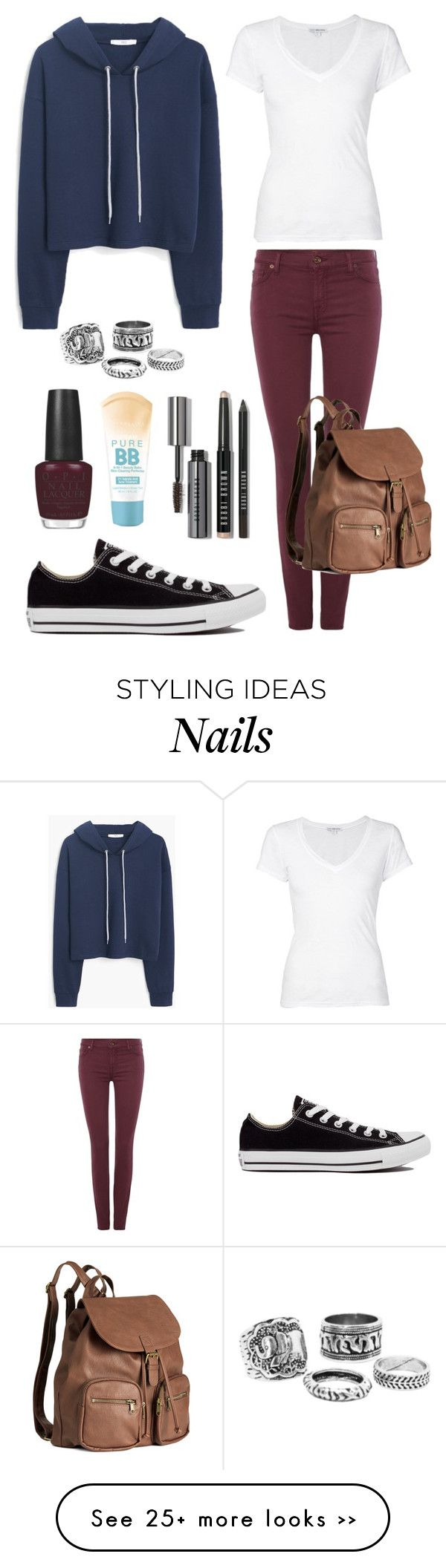 """""""Back to School Outfit"""" by sophiesayshi on Polyvore featuring MANGO, 7 For All Mankind, Converse, H&M, James Perse, Bobbi Brown Cosmetics, Maybelline and OPI"""
