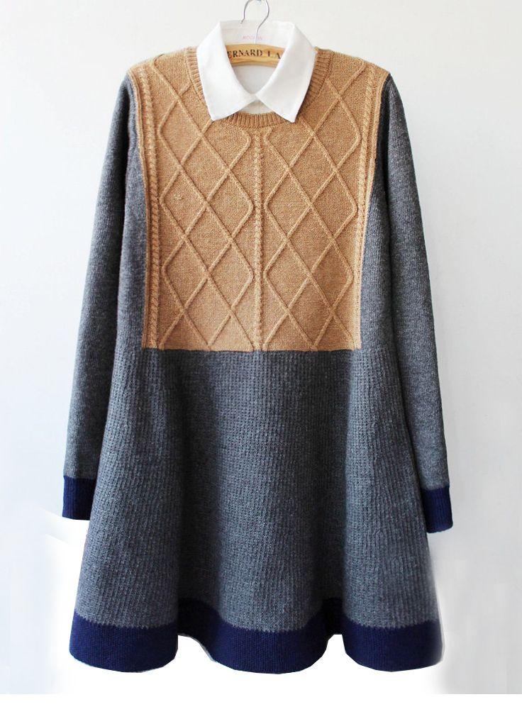 Grey Long Sleeve Geometric Knit Ruffle Sweater Dress US$36.70--Sheinside