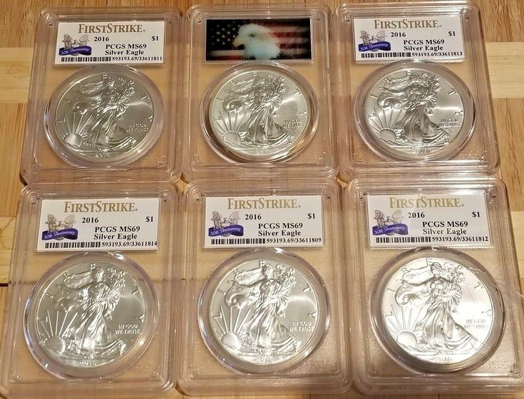 Lot of 6 American Silver Eagles $1 Dollar coins graded MS69 by PCGS First Strike