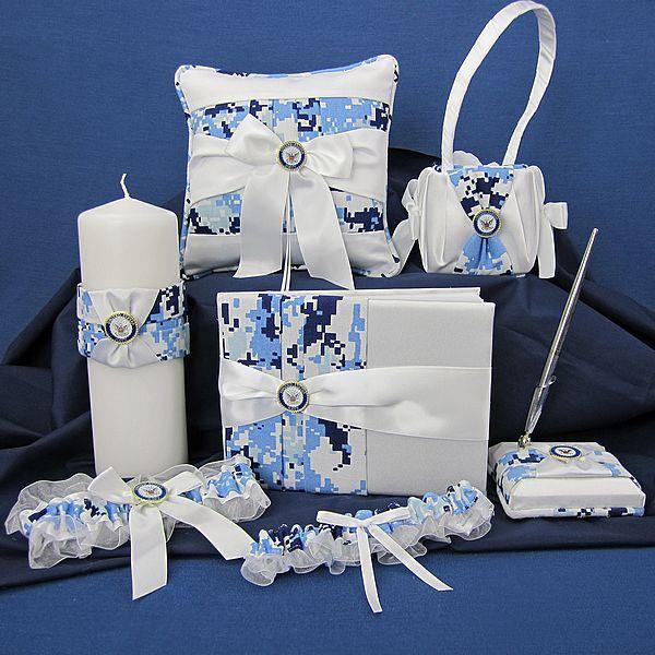 Blue Digital Camo Military Wedding Accessories Set