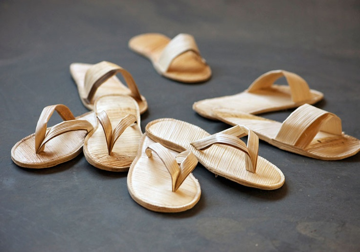 Palm Leather Resort Sandals  —    Palm trees grow everywhere around the globe. It is a great natural resource and is used in every conceivable way, from building material to food. I came across the Areca Palm Leave plates last year and was, as many, amazed by its properties.