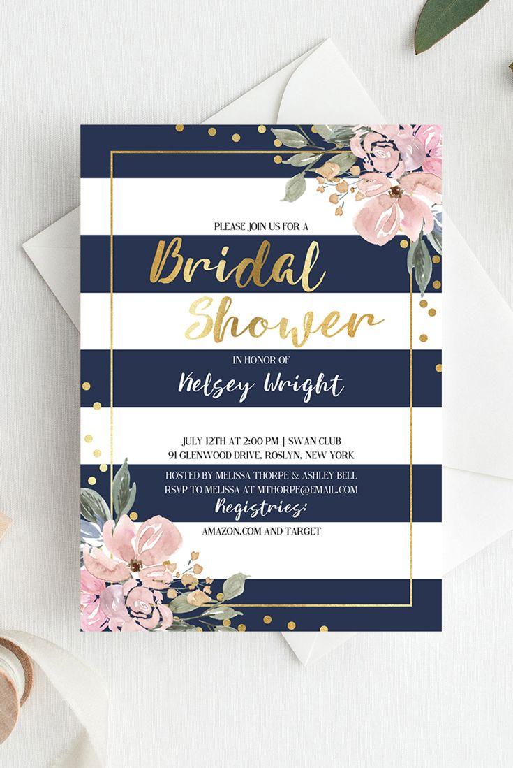 bridal shower invitations registry etiquette%0A Navy  Pink and Gold Bridal Shower Invitation  Florals  Confetti and Stripes