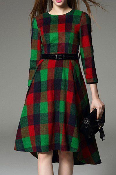 Checked Round Neck 3/4 Sleeve Midi Dress