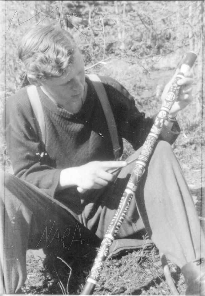 """A Norwegian Volunteer of the Norwegian SS Ski Company (later battalion and a unit I'm very interested about) posing with his """"Karelian"""" Stick for Norwegian war reporter Ulf Tur in Karellia, Spring 1943. The arrival of spring made much of the landscape swampy. It was similar to conditions along the Volkhov, and in both regions the carving of walking sticks was a popular hobby. The """"Karelian Stick"""" was the counterpart to the more-famous """"Volkhov Stick."""""""