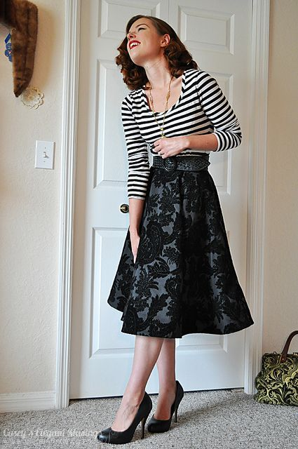 circle skirt with long sleeved t-shirt