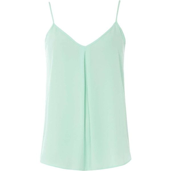 Dorothy Perkins Mint Inverted Pleat Cami Top ($18) ❤ liked on Polyvore featuring tops, shirts, tank tops, tanks, green, mint shirt, camisoles & tank tops, mint tank top, cami tank and mint green shirt