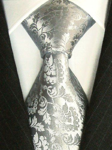LORENZO CANA Luxury Tie Jacquard Woven Italian Silk Handmade Necktie Ties - Grey Floral Pattern: Amazon.co.uk: Clothing