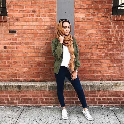 bomber-green-jacket-hijab-look- Military khaki hijab style http://www.justtrendygirls.com/military-khaki-hijab-style/