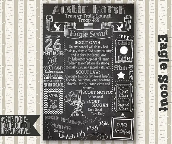 EAGLE SCOUT CHALKBOARD: This is a personalized Eagle Scout chalkboard poster listing for one of our DIGITAL designs. You will receive a
