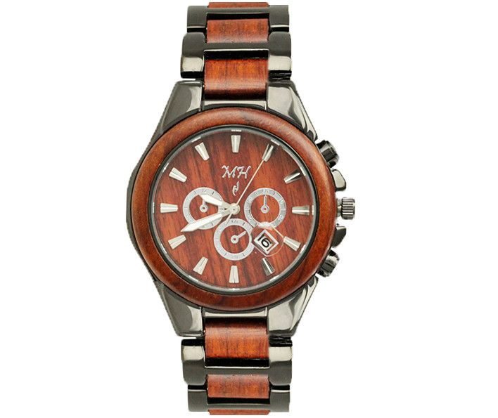 Mens Wooden Watch Rose Wood and Metal Iron Plated Black Color