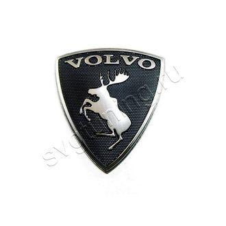 Клубный шильдик с лосем на багажник Volvo, с чёрным фоном щита