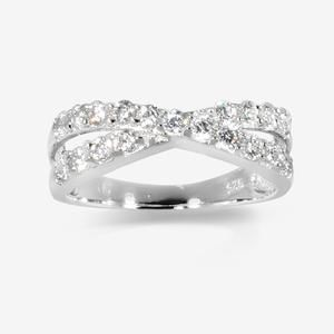 Rosie Real Sterling Silver DiamonFlash<sup>®</sup> Cubic Zirconia Cross Over Ring