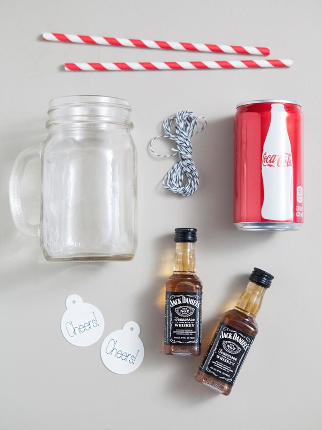 DIY // Cocktail Mason Jar Gift -- mason jar mug, skinny soda can, straw and alcohol!