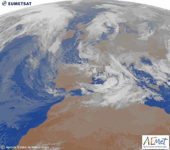 AEMet. Imágenes satélite, Infrarojo. España.  Imagen de la zona de Europa y Norte de África del canal infrarrojo del satélite Meteosat-9, procesada para darle color.