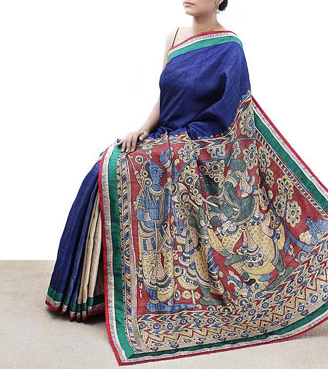 Blue Tussar Silk Kalamkari Saree