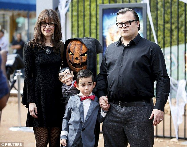 Family man: Actor Jack Black with wife Tanya Haden and son Thomas a the premiere of his new film Goosebumps in Los Angeles on October 4