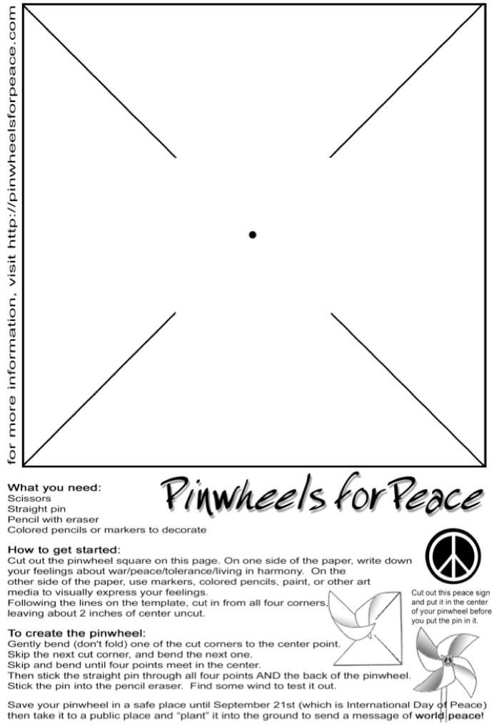 To create your own pinwheel follow these directions to