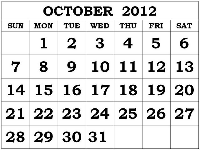 October 2012 Calendar Printable Download Full HD
