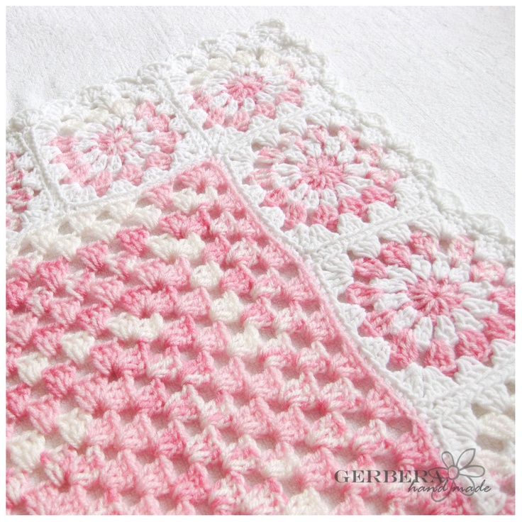 Romantic Crocheted baby Blanket - Girl Afghan - pink and white color for baby 100cm cotton MADE TO  ORDER. $85.00, via Etsy.