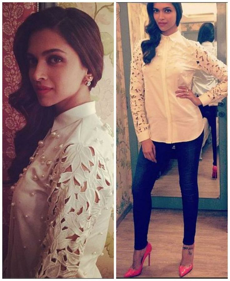 Deepika Padukone in a white pearl embroidered Archana Rao shirt teamed with blue denim, pink pumps, pink lips and side-swept waves