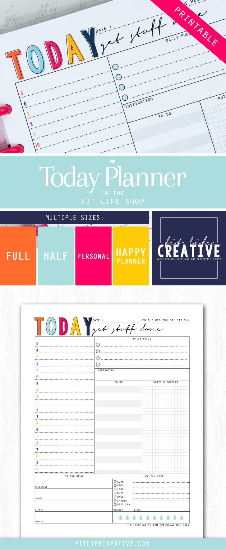 Printable Daily Planner.  Map out your entire day from task to fitness with the Today Planner printable.