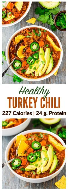 The BEST Healthy Turkey Chili. — Only 227 calories, with 24 g. protein per serving! Hearty, warm, filling with the perfect amount of spice. This simple recipe will be your new chili go-to! Recipe at http://wellplated.com | /wellplated/