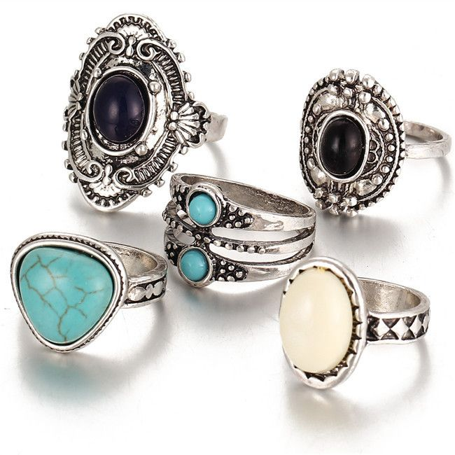5 Pcs/Set Antique Gold/Silver Bohemian Midi Ring Set Vintage Steampunk Knuckle Rings For Women Boho Jewelry