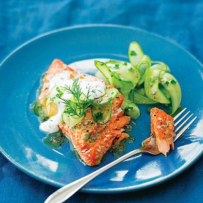 Maria Hines, chef of Tilth restaurant in Seattle, serves this refreshing, hot and cool salmon dish with a side of couscous seasoned with...