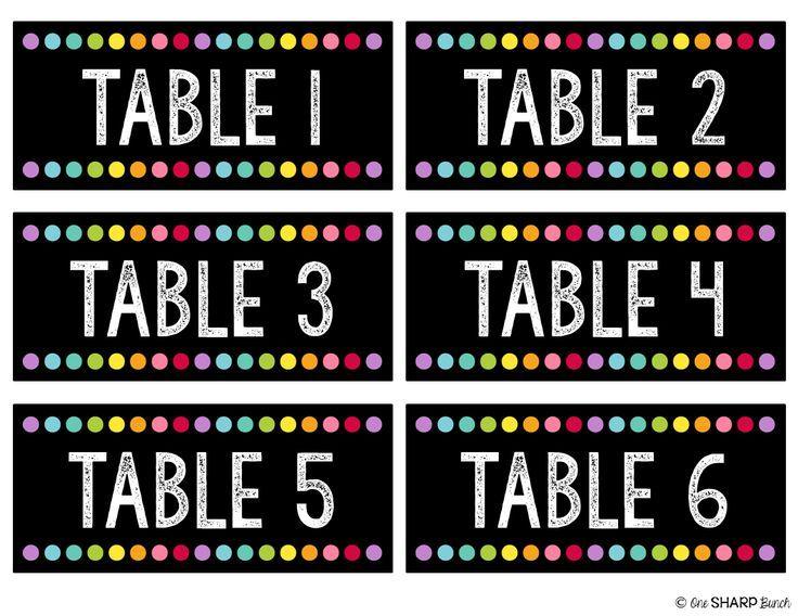 Neon Table Numbers - Chalkboard Table Numbers - FREEBIE