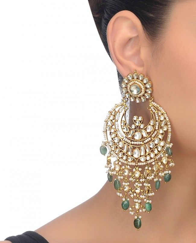 Golden Drop Earrings With Kundan Stones - Preeti Mohan - Designers