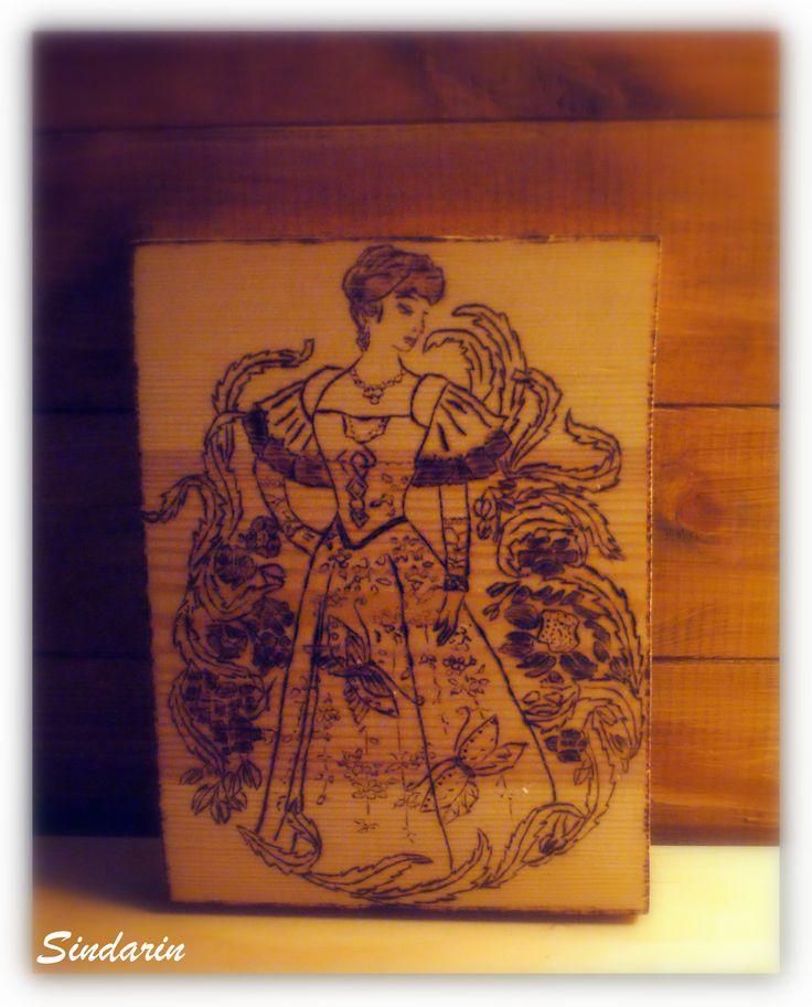 Dama z motylami Tryptyk Damy Pyrography