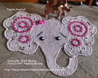 Meu Crochê Contemporâneo: Tapete Elefantinha Graciosa