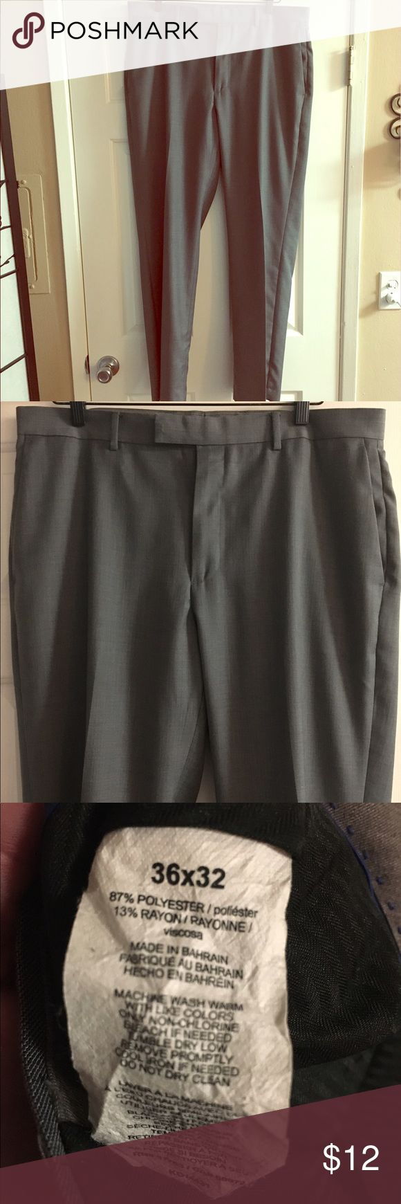 GREY MENS SLACKS AXIST 36x32 MENS Slacks Size 36x32, good condition. No signs of Wear.  Straight Flat front not pleated axist Pants Trousers