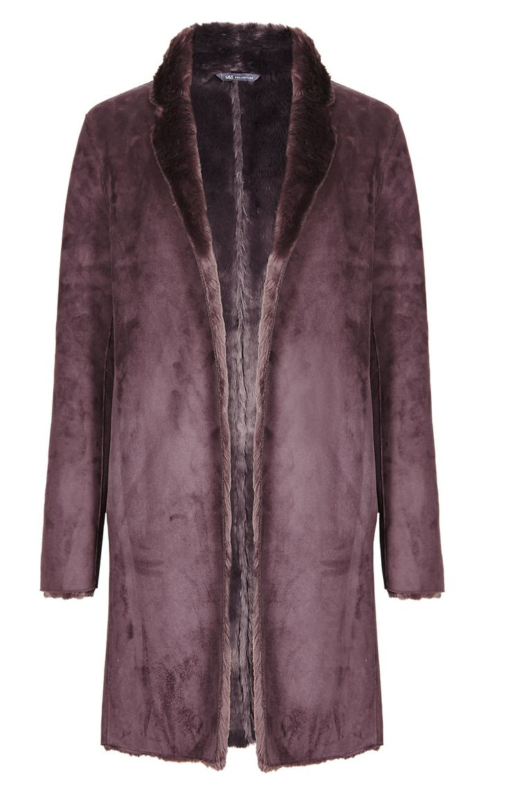 Marks and Spencer M&s Collection Oversized Faux Fur Collared Neck Coat -  ShopStyle