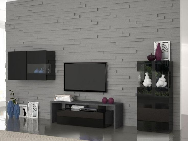 Treviso, Modern TV Cabinet, Wall Unit And Display Cabinet In Black Gloss  And Report