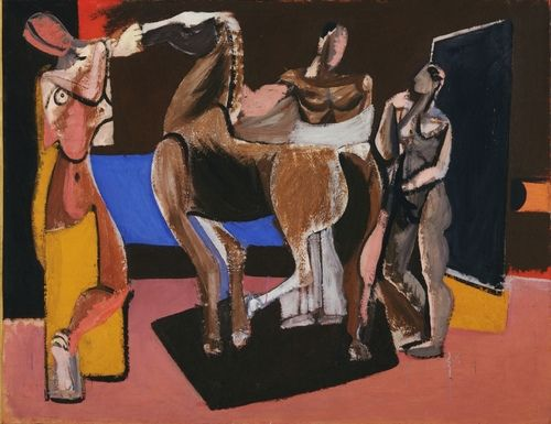 Gorky, Arshile (1904-1948) - 1928 Composition: Horse and Figures (Museum of Modern Art, New York City) Oil on canvas; 87 x 110.2 cm.