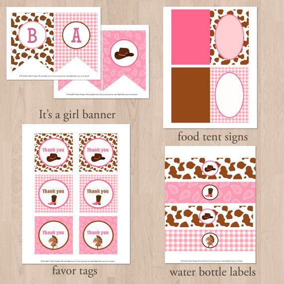 Little Cowgirl Baby Shower Water Bottle Labels