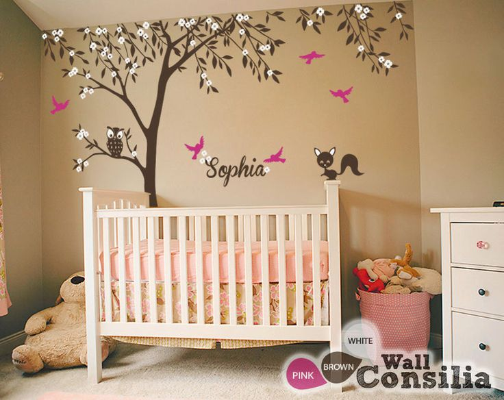 """Baby Nursery Wall Decals - Tree Wall Decal - Tree Decal - Owl and Fox Decal - Large: approx 121"""" x 95"""" - KC025 by WallConsilia on Etsy https://www.etsy.com/listing/155784490/baby-nursery-wall-decals-tree-wall-decal"""