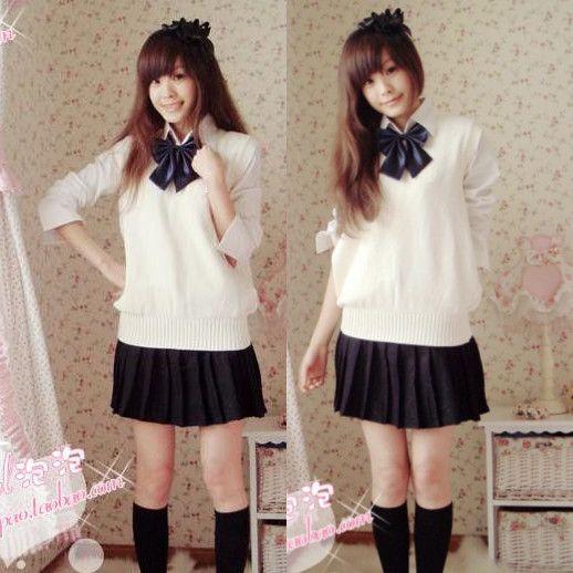 Школьная форма девушки сладкий свитер жилет 5 шт. комплект британский стиль академический школьная форма на зиму сексуальные девушки моряк равномерное