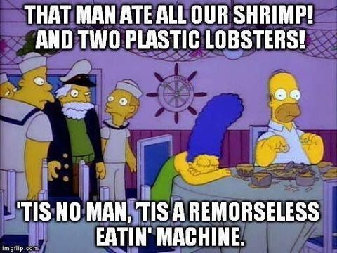 Homer is a remorseless eating machine!