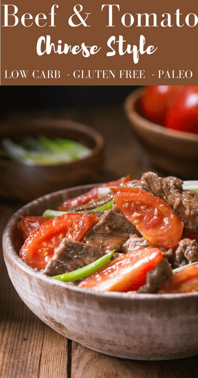 Make this LOW CARB, gluten free, healthy, delicious, Chinese Style Beef and Tomato recipe in less than 20 Minutes and with only 378 CALORIES per serving!! With Paleo option.