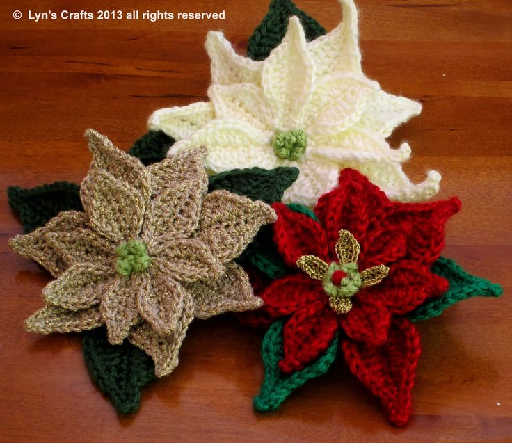 Beautiful Poinsettia: crochet pattern for purchase