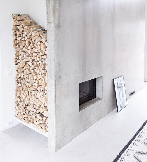 Minimalist concrete fireplace