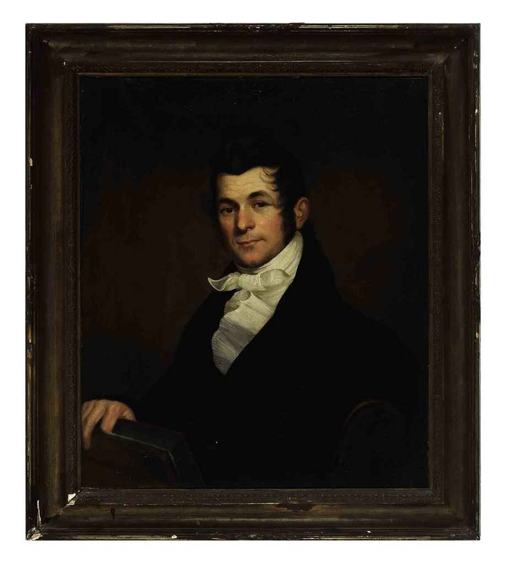 Bass Otis (American, 1784-1861)  Portrait of William Musser  signed, inscribed and dated 'Wm Musser January 1817 Executed by Mr. Bass Otis' (on the reverse) oil on canvas. Painted in 1817.