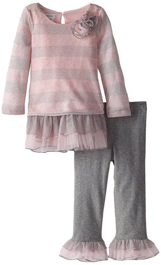 Bonnie Jean Little Girls' Brushed Knit Stripe Playwear Set, Grey, 3T